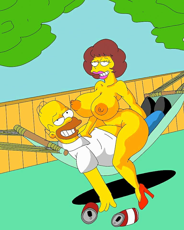 cowgirl_position grin high_heels homer_simpson huge_breasts maude_flanders nipples stockings the_simpsons