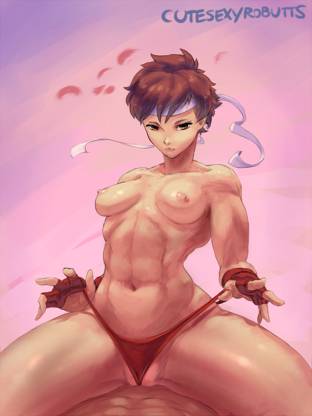 1girl abs areola breasts brown_hair cameltoe capcom cutesexyrobutts fingerless_gloves gradient_background looking_at_viewer navel nipples panties panty_pull sakura_kasugano short_hair sitting solo_focus spread_legs straddling street_fighter toned