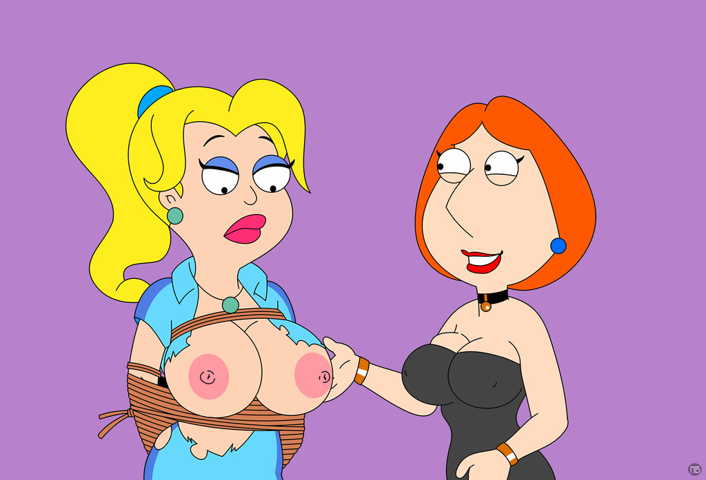 american_dad big_breasts bondage crossover family_guy francine_smith lois_griffin nano_baz nipples rope topless