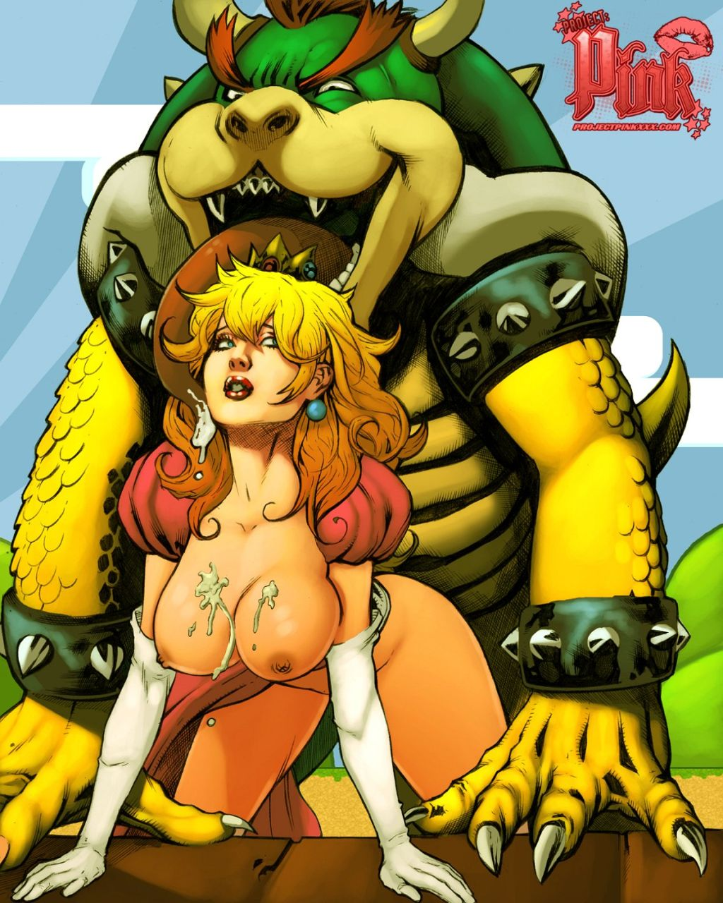 beastiality blonde_hair bowser breasts couple princess_peach super_mario_bros.
