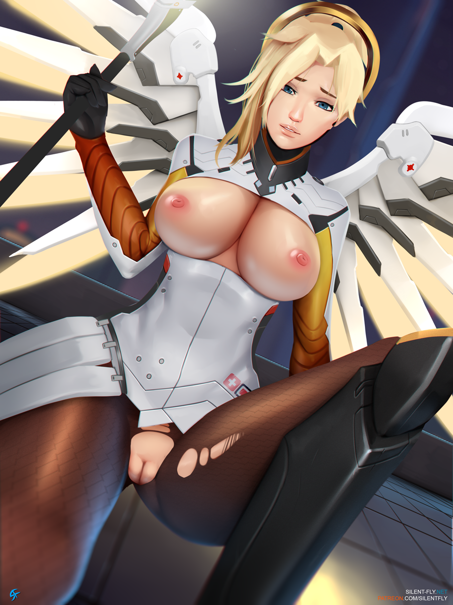 1girl big_breasts big_breasts blonde blonde_hair blue_eyes cosplay mercy mercy_(overwatch) nipples overwatch pussy ripped ripped_clothes shaved_pussy silent-fly standing standing_on_one_leg tits_out unicorn wings