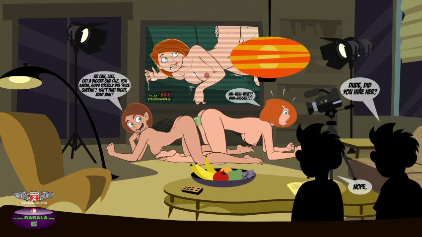 16:9_aspect_ratio 2boys 3girls all_fours ann_possible areola ass barefoot big_breasts blue_eyes breasts camera completely_nude dildo disney english_text feet gagala high_resolution incest indoors joss_possible kim_possible kimberly_ann_possible large_dildo male medium_breasts multiple_boys multiple_girls nipples nude open_mouth orange_hair phillipthe2 phillipthe2_(artist) picture_(object) recording sex sex_toy smile supervised_sex supervision text yuri