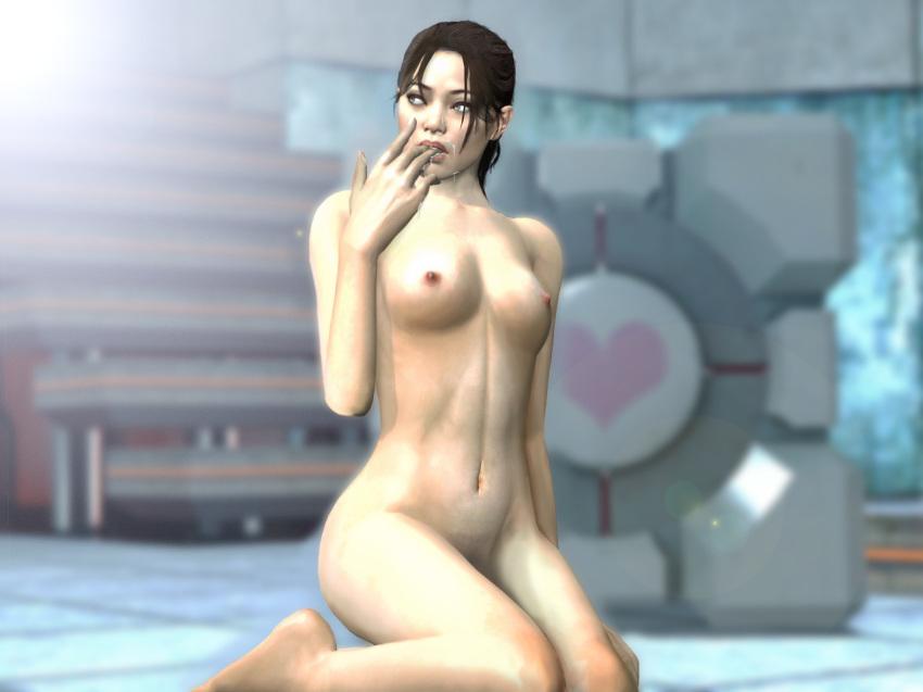 1girl 3d black_hair breasts chell cum cum_on_face fugtrup gmod heart kneel lipstick portal_(series) portal_2 solo source_request