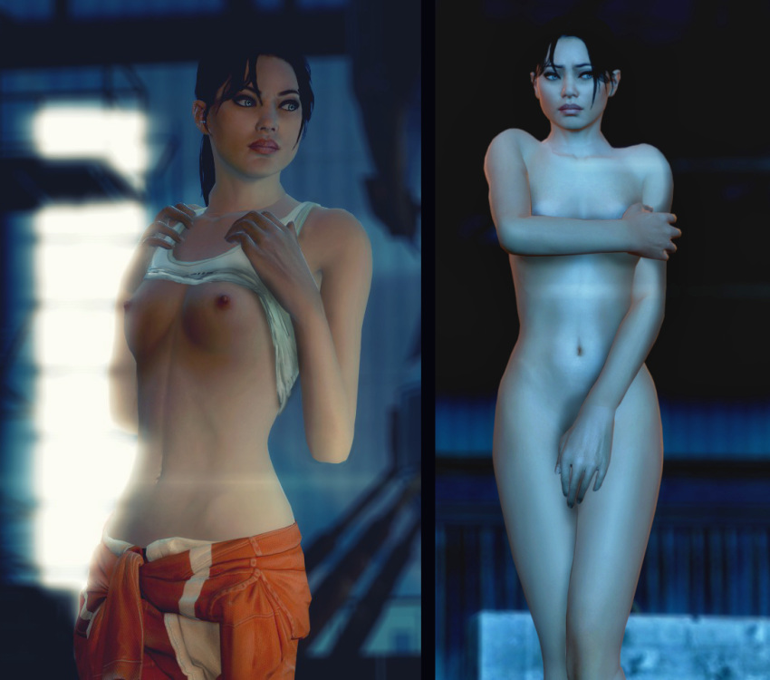 1girl black_hair blue_eyes breasts chell comparison erect_nipples fugtrup gmod navel nipples nude orange_clothes orange_pants portal_(series) portal_2 shirt_lift small_breasts solo undressing white_clothes white_shirt