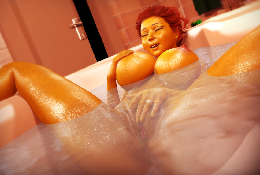 3d bath big_breasts breasts brown_hair female masturbation maude_flanders milf nipples nude pubic_hair pussy rasmus-the-owl solo the_simpsons water wet yellow_skin