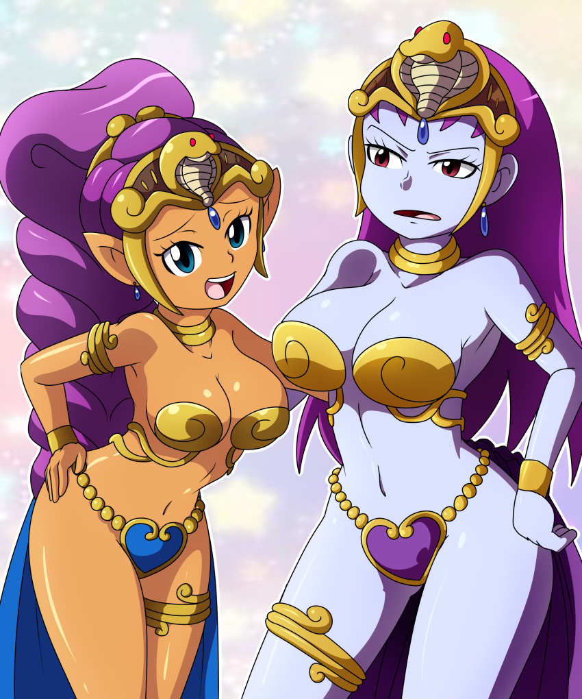 2_girls bare_shoulders big_breasts blue_eyes bracelet breasts cleavage crown dark-skinned_female dark_skin earrings hair_ornament hand_on_hip jewelry large_breasts looking_at_viewer navel open_mouth ponytail purple_hair purple_skin red_eyes revealing_clothes risky_boots shantae shantae_(character) simple_background teeth thighlet thighs tongue wide_hips