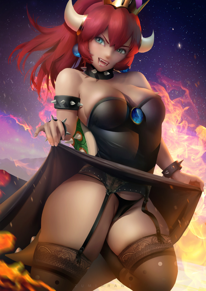 1girl 1girl 1girl areola black_panties blue_eyes bowsette choker crown dress dress_lift earrings female_only garter_belt panties ponytail pubic_hair pussy red_hair stockings stockings super_mario_bros. thick_thighs tied_hair voluptuous zumi_(artist)