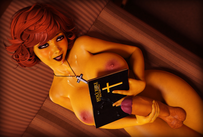 3d ahegao bible big_breasts big_penis big_testicles black_eyes book breasts brown_hair cross cum female futanari masturbation maude_flanders milf necklace nipples nude penis rasmus-the-owl solo testicles the_simpsons yellow_skin