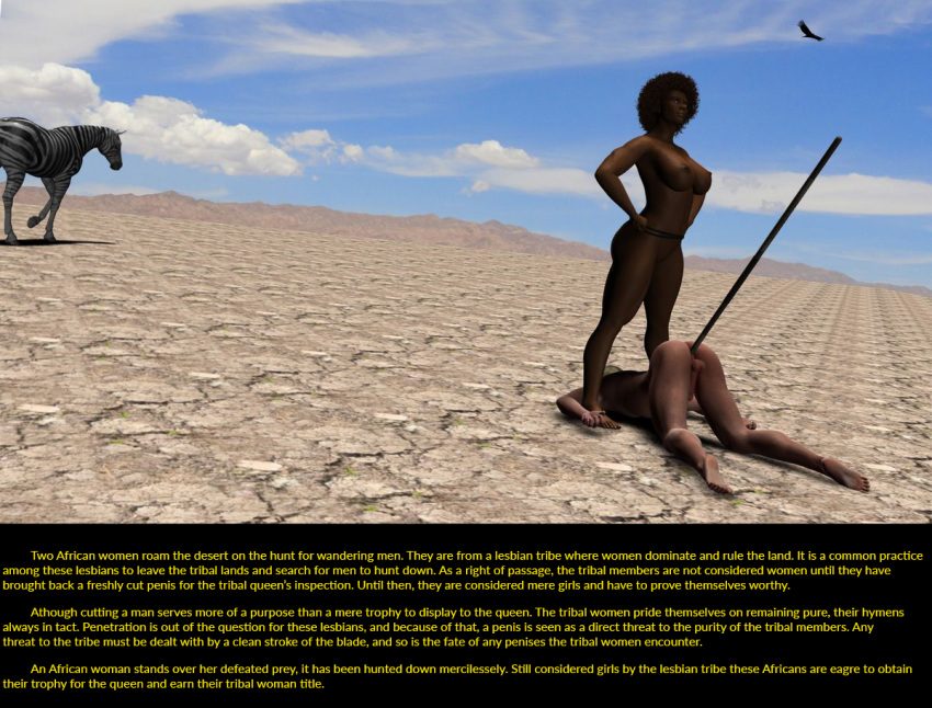 1boy 2girls 3d africa anal castration curvy defeated desert knife multiple_girls nature nude snuff spear spoils text tribal trophy virgin