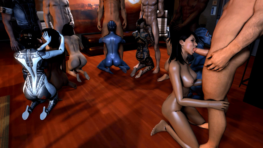 3d 6+girls 8girls alien animated asari ashley_williams breasts dark-skinned_male edi fellatio female gif group_sex hand_on_head human interracial interspecies jack kneel kneeling liara_t'soni ltr300 male miranda_lawson multiple_girls nipples oral orgy samantha_traynor samara source_filmmaker standing tattoo toes