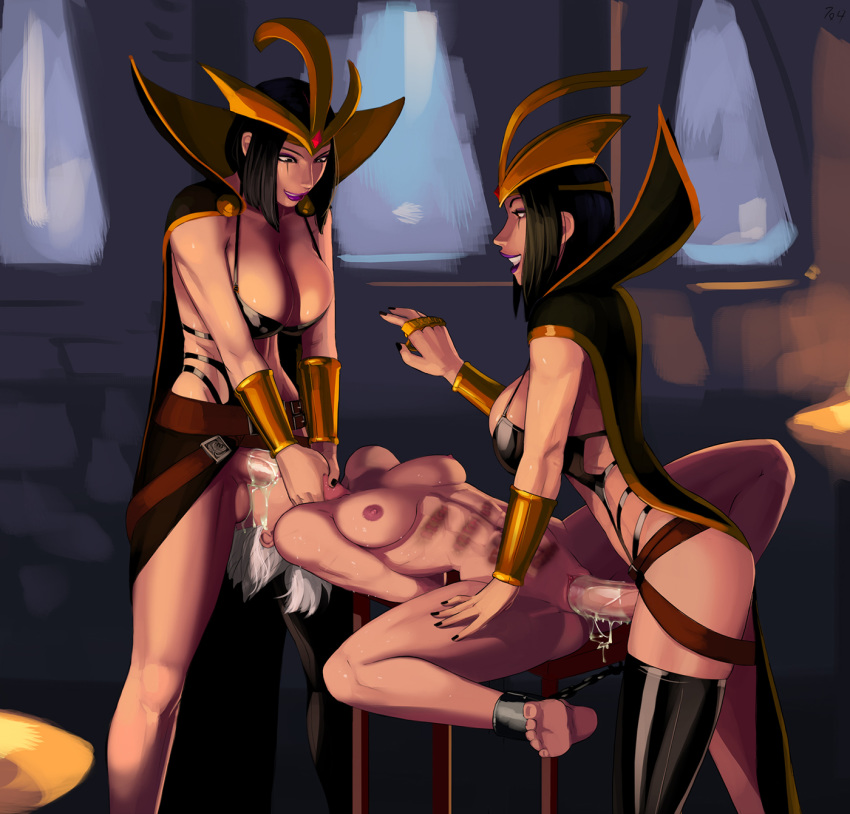 3_girls aka6 areola arms_behind_back black_hair bound_legs breasts bruise chains cleavage clothed_female_nude_female cum cum_drip cum_in_mouth cum_in_pussy facial fellatio full-package_futanari futanari futanari_with_female irrumatio league_of_legends leblanc nipples oral pussy riven sex short_hair spitroast stockings thighs throat_bulge uncensored vaginal white_hair