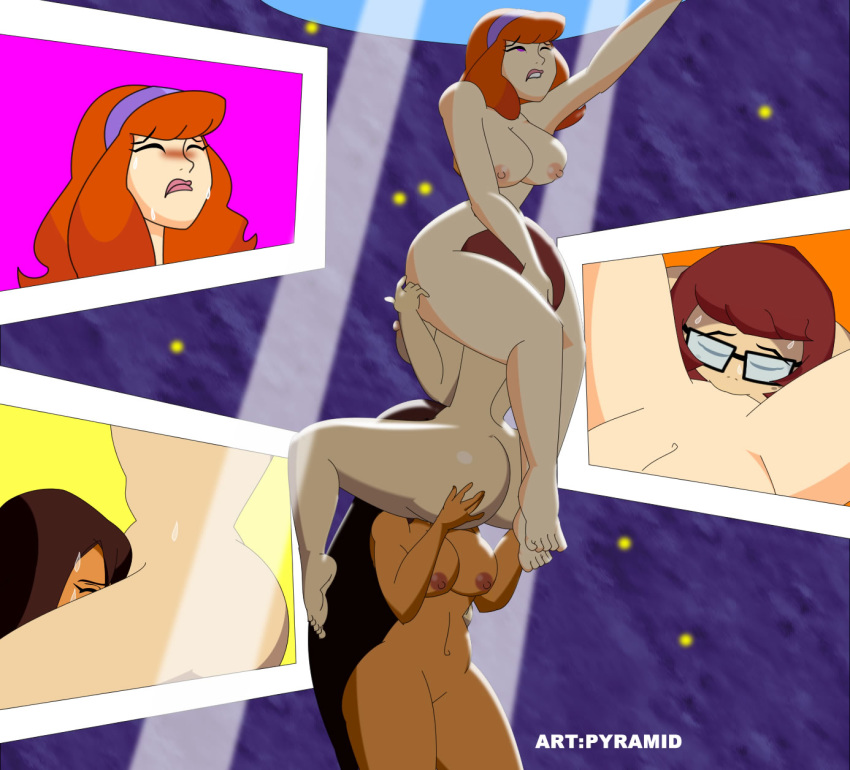 3_girls ass ass_grab breasts brown_hair climbs daphne_blake embracing facesitting hanna_barbera jessica_(camp_scare) licking long_hair multiple_girls mystery_inc nude pussy pussylicking pussylicking pyramid_(artist) red_hair scooby-doo scooby-doo!_camp_scare short_hair sweat velma_dinkley yuri