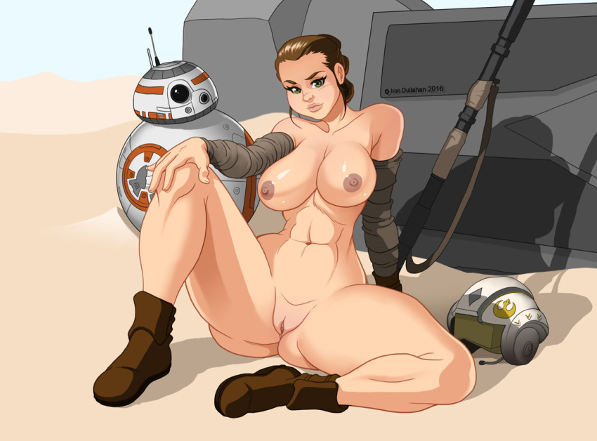 1girl ass bb-8 big_ass big_breasts breasts brown_eyes brown_hair desert droid female fuckable insanely_hot iron-dullahan looking_at_viewer nipples nude pussy rey robot sand star_wars star_wars:_the_force_awakens