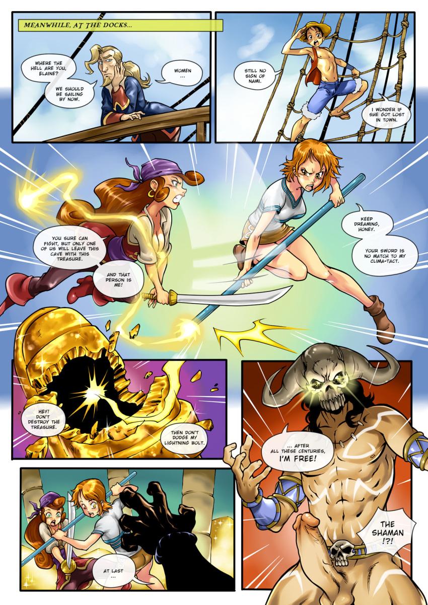 comic elaine_marley hot_duels monkey_island nami one_piece r_ex_(artist)