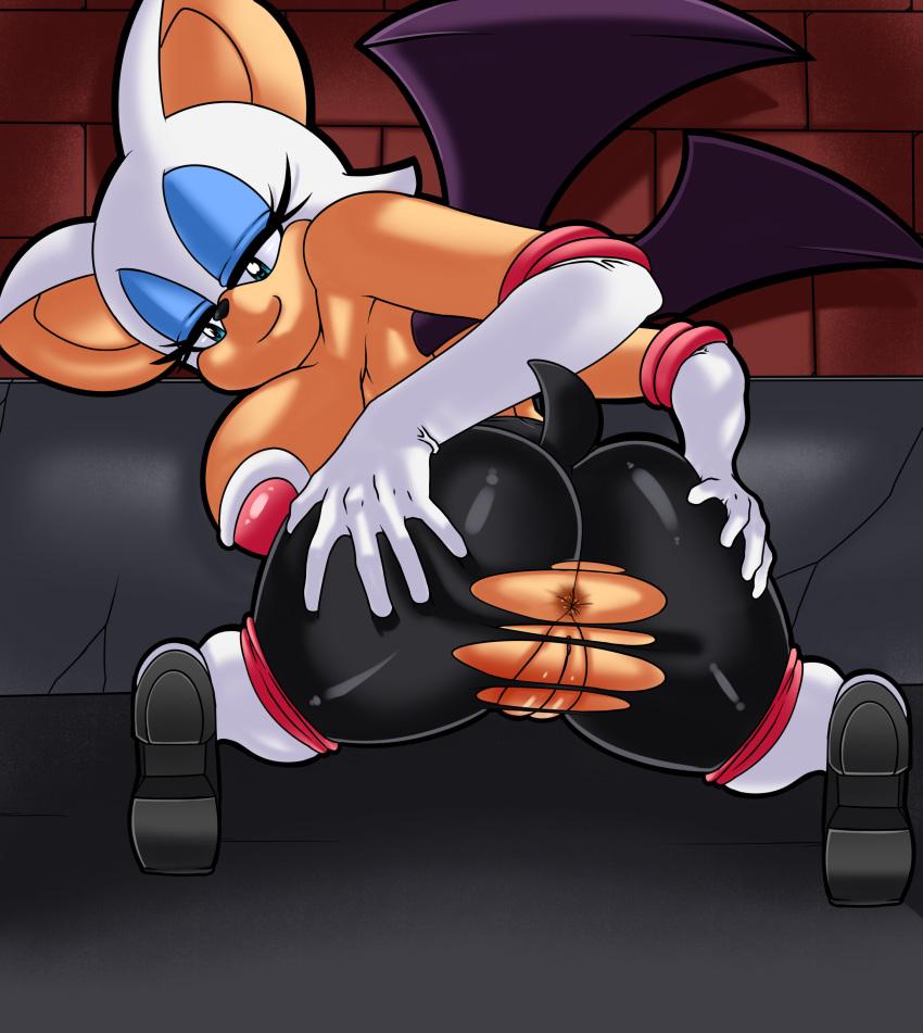 1girl anthro anus bat clothing dreamcastzx1 furry mammal pussy_lips rouge_the_bat sega tight_clothing torn_clothing