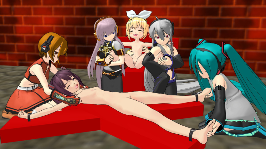 3d cell_shading mikumikudance multiple_girls nude restrained tickling