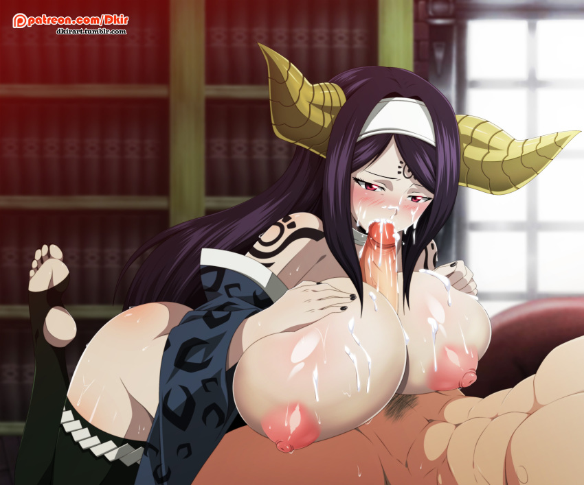 abs areolae ass big_ass big_breasts big_penis black_hair blush breasts cum cum_in_face cum_in_mouth demon demon_girl dkir fairy_tail feet fellatio female forehead_mark horns male nipples nude oral paizuri penis red_eyes seilah soles solo_focus sweat tattoo thighhighs toeless_legwear toes