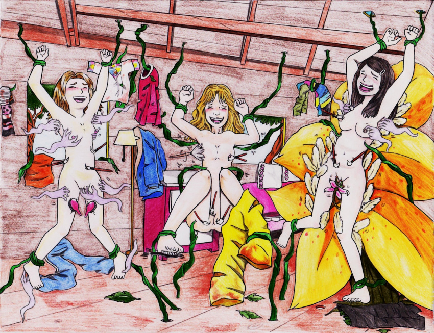 arms_up barefoot blonde_hair blush brown_hair clenched_hands closed_eyes edited laughing long_hair multiple_girls nude princeofhalcyon tickling