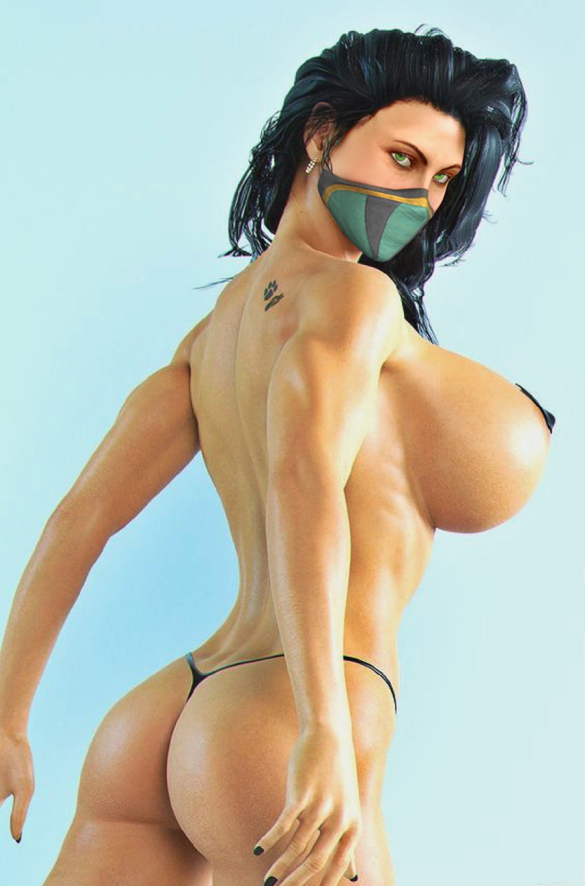 1girl 3d ass black_hair breasts butt cum_request female_only game_cg games green_eyes half-dressed half_naked hentai huge_breasts human jade large_breasts legs looking_at_viewer mask mortal_kombat mortal_kombat_9 nice_tits nipples posing realistic render solo solo_female tattoo thong video_games xnalara xps