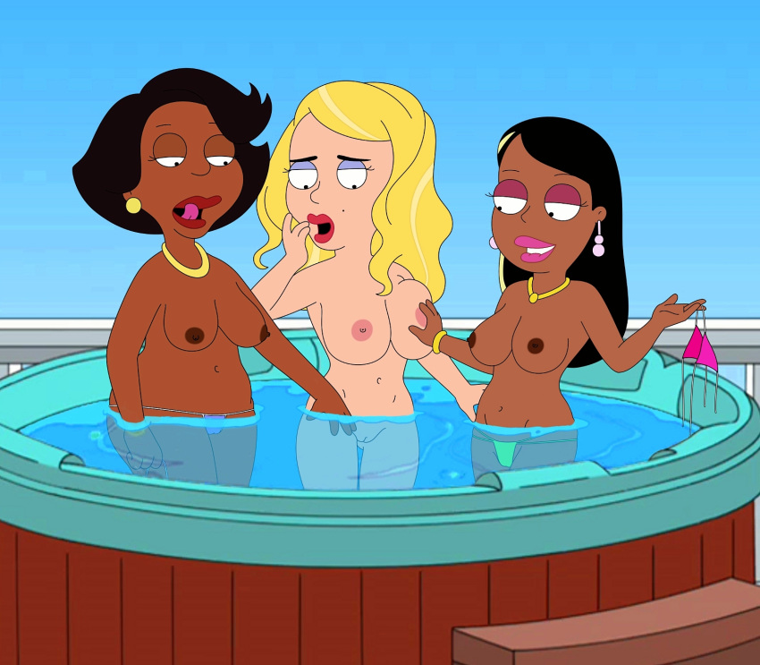 big_boob_june big_breasts bikini breasts donna_tubbs hand_on_breast hot_tub interracial lesbian licking_lips lip_bite nude pussy roberta_tubbs the_cleveland_show thong topless water wide_hips