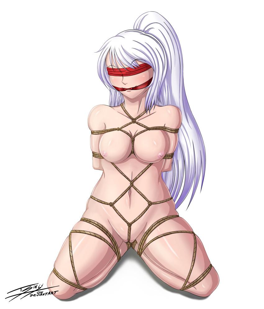 absurd_res blindfold bondage female_only femsub gag nude sakura shibari solo tsinji_(artist) white_hair