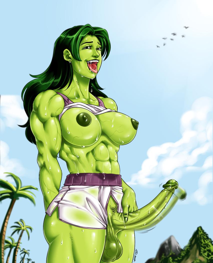 abs breasts futanari huge_breasts huge_penis marvel muscular_intersex nipples penis she-hulk testicle veiny waving