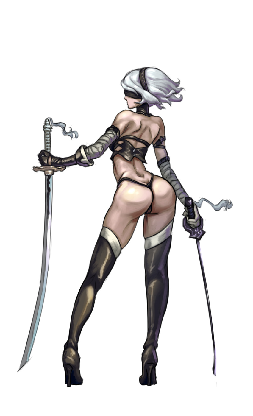 1girl ass bare_shoulders blindfold cutesexyrobutts high_heels nier:_automata nier_(series) shiny shiny_clothes simple_background skindentation standing stockings swords thong white_background white_hair yorha_no._2_type_b