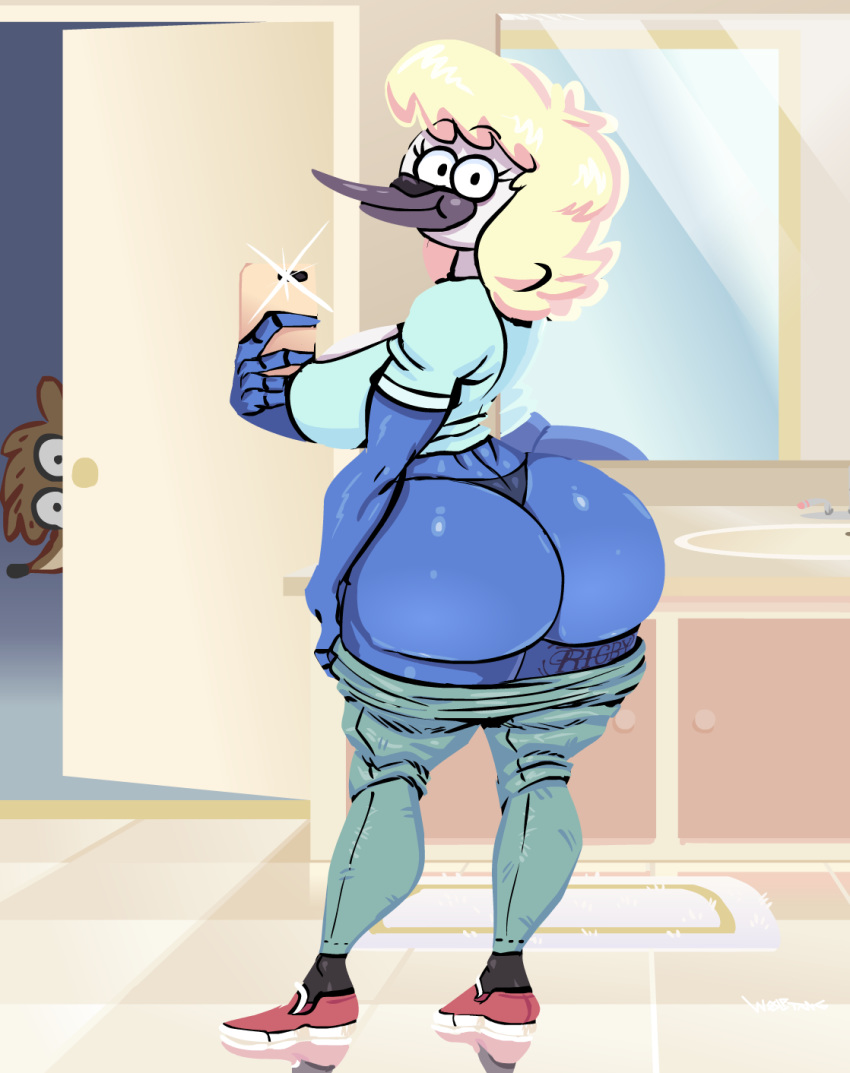 1girl anthro ass avian bathroom being_watched big_ass blonde_hair cartoon_network cellphone clothing duo furry hair high_res huge_ass looking_at_viewer milf mordecai's_mom parent phone regular_show rigby_(regular_show) selfpic solo_focus tattoo wolftang