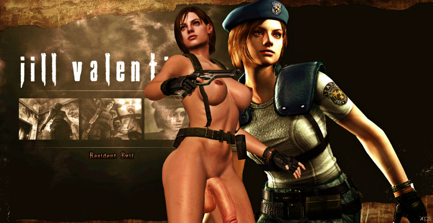 1girl 3d background blue_eyes breasts brown_hair brunette cock dark_nipples dick dickgirl dickgirl/female female female_human female_only fingerless_gloves futa futanari games gear gun holster human human_only jill_valentine legs nipples nude nude_female penis posing render resident_evil resident_evil_3 shemale simple_background solo solo_female testicles video_games weapon xnalara xps