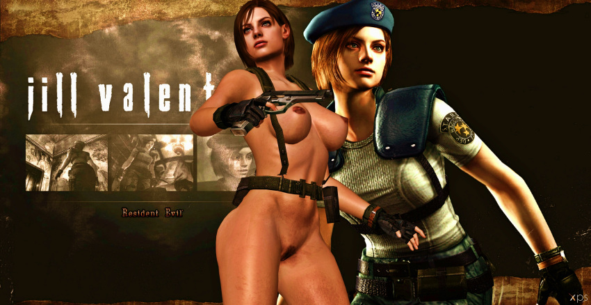 1girl 3d background blue_eyes boobs breasts brown_hair brunette dark_nipples female female_human female_only games gear gun hairy_pussy holster human human_only jill_valentine legs naked nipples nude nude_female posing pubic_hair pussy render resident_evil resident_evil_3 simple_background solo solo_female tits video_games xnalara xps