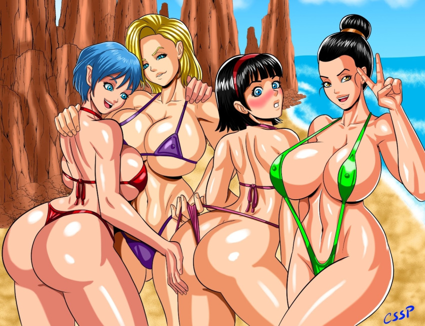 1girl 4girls adult age_difference android_18 arms_up artist_name back_view bare_shoulders beach big_ass big_ass big_breasts big_breasts bikini bikini_bottom bikini_top black_hair blonde_hair blue_eyes blue_hair blush brown_eyes bubble_ass bulma_brief butt_crack chichi cssp dat_ass day detailed_background dragon_ball dragon_ball_super dragon_ball_z ear_piercing earrings erect_nipple erect_nipples eyelashes female_only front_view group hair_bun hair_ornament hairband hand_on_ass harem hourglass_figure human looking_at_viewer looking_back mature midriff milf milf mother-in-law_and_daughter-in-law multiple_females multiple_girls nipple_bulge open_mouth outdoor outside peace_sign piercing rock sand shiny shiny_skin short_hair skimpy sling_bikini string_bikini swimsuit thong tied_hair under_boob videl voluptuous water wedgie wide_hips yellow_hair yuri