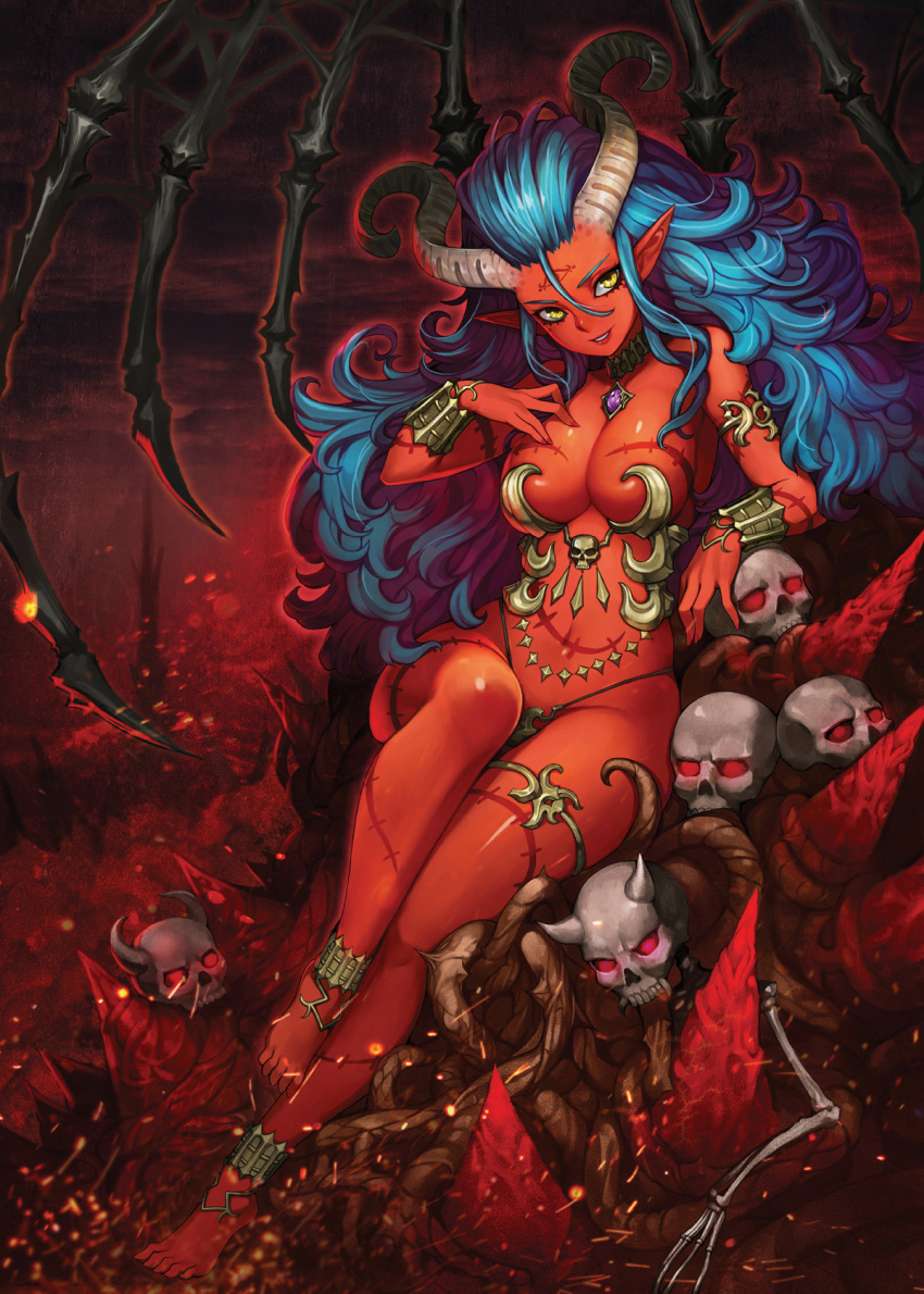 1girl 1girl anklet aqua_hair armlet armor barefoot big_breasts bikini_armor blue_hair breasts choker curly_hair demon_girl demon_horns facial_mark forehead_mark glowing glowing_eyes grin gurimjang hair_between_eyes high_res horns jewelry long_hair original parted_lips red red_skin scar sitting skull smile tattoo thighlet yellow_eyes