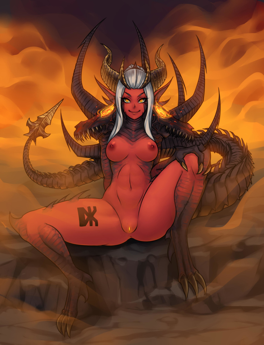 >:) 1girl 1girl absurd_res big_breasts breasts claws demon_girl demon_horns demon_tail ember_(khornette_quest) full_body glowing glowing_pussy hand_on_own_knee head_fins high_res horns khornette_quest long_hair monorus monster_girl navel nipples nude on_ground orange_eyes orange_sky paws pussy red_skin rock scales silver_hair sitting skull sky smile spiked_tail spikes spread_legs tail talons tattoo thighs uncensored