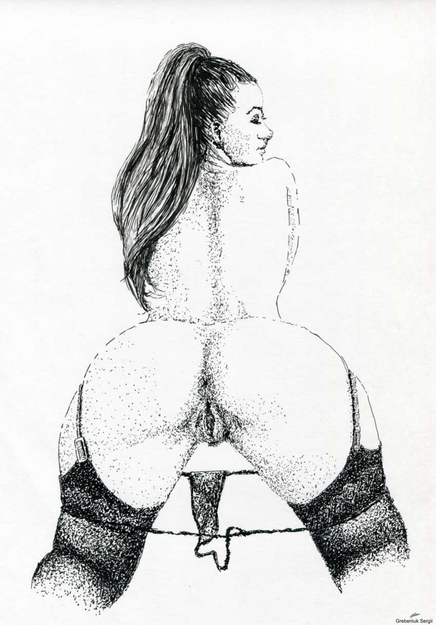 1girl 1girl adult art ass beautiful classic drawing erotic explicit graphic hot lingerie nude pen_ink pussy rapidograph show stockings