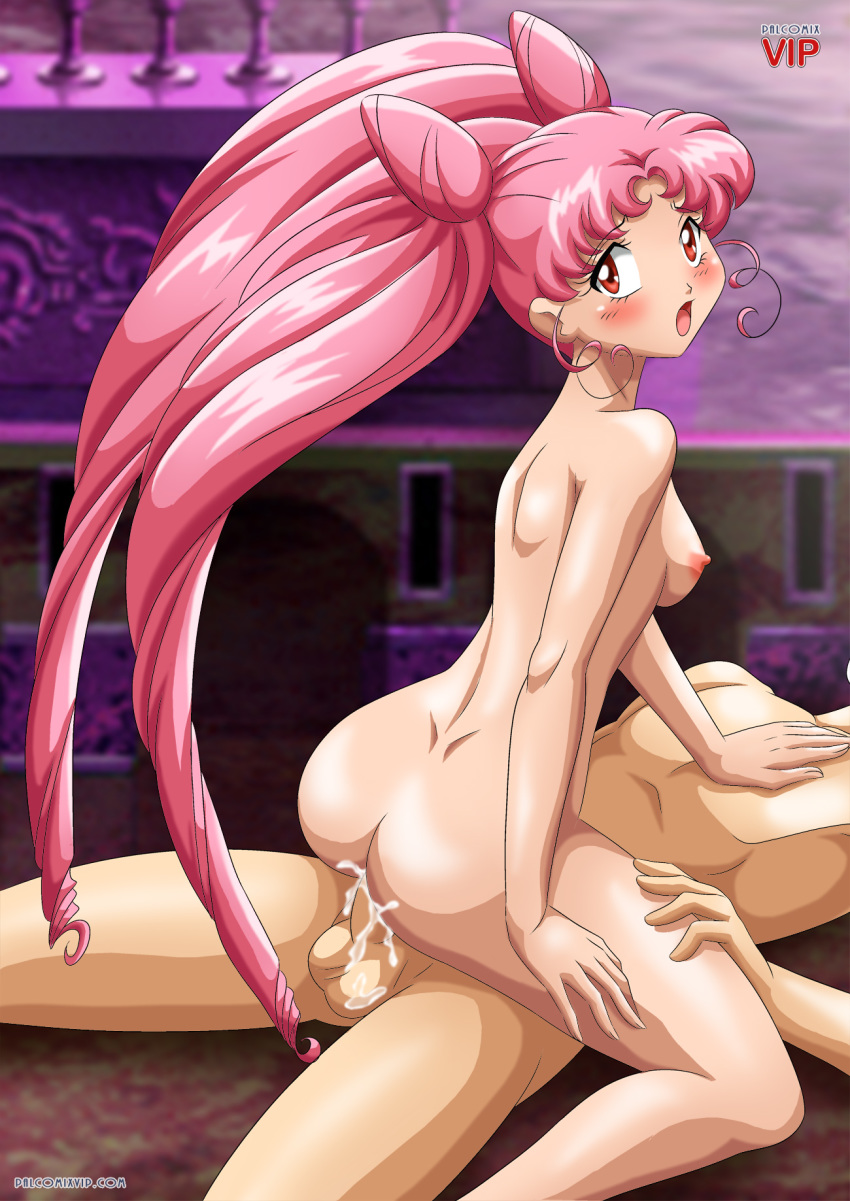 1girl ass bishoujo_senshi_sailor_moon chibi_usa cum looking_back palcomix palcomix_vip pink_hair red_eyes sex vaginal vaginal_penetration