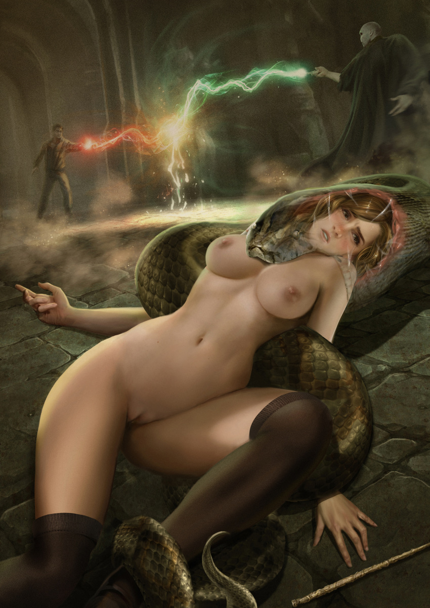 breasts hairless_pussy harry_james_potter harry_potter hermione_granger nagini no_bra no_panties pussy snake stockings voldemort vore wand x-ray