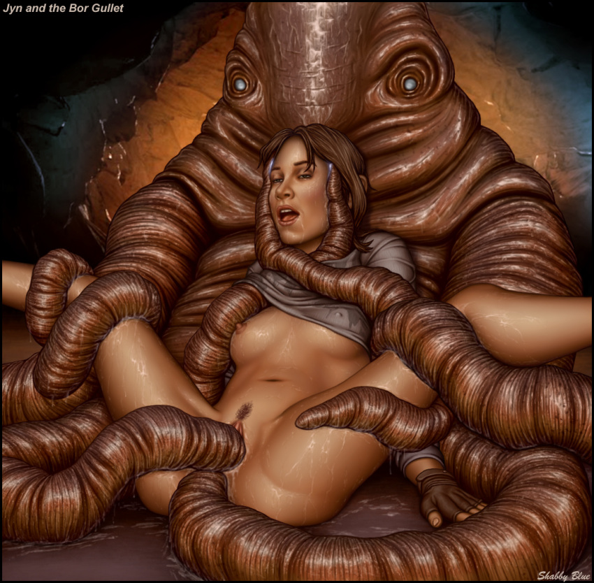 1girl anal anal_penetration bor_gullet breasts double_penetration female_human interspecies jyn_erso nipples pussy rape rogue_one sex shabby_blue spread_legs star_wars tentacle_rape tentacle_sex tentacles vaginal vaginal_penetration