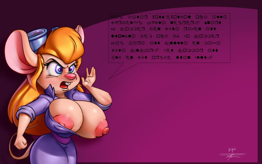 1girl 2016 angry anthro big_breasts blonde_hair blue_eyes breasts buckteeth chip_'n_dale_rescue_rangers clothing collaboration disney erect_nipples eyelashes eyewear eyewear_on_head furry gadget_hackwrench goggles hair huge_breasts joelasko long_hair mammal mouse nipple_slip nipples one_breast_out open_mouth rodent simple_background teeth transparent_background wardrobe_malfunction white-devil_(artist)