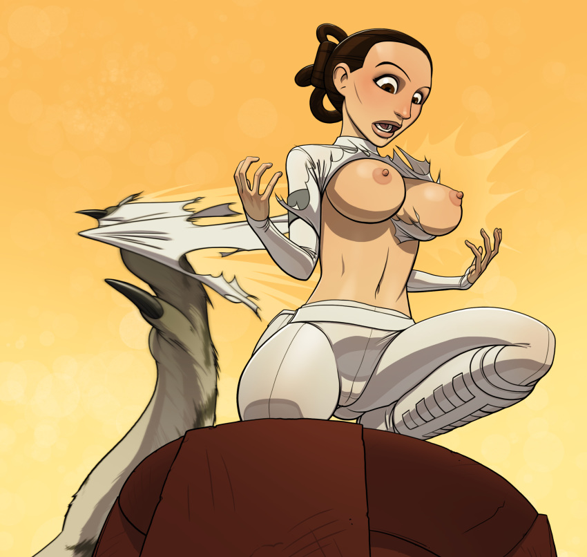 attack_of_the_clones breasts exposed_breasts gao23 nexu padme_amidala pants partially_clothed star_wars torn_clothes