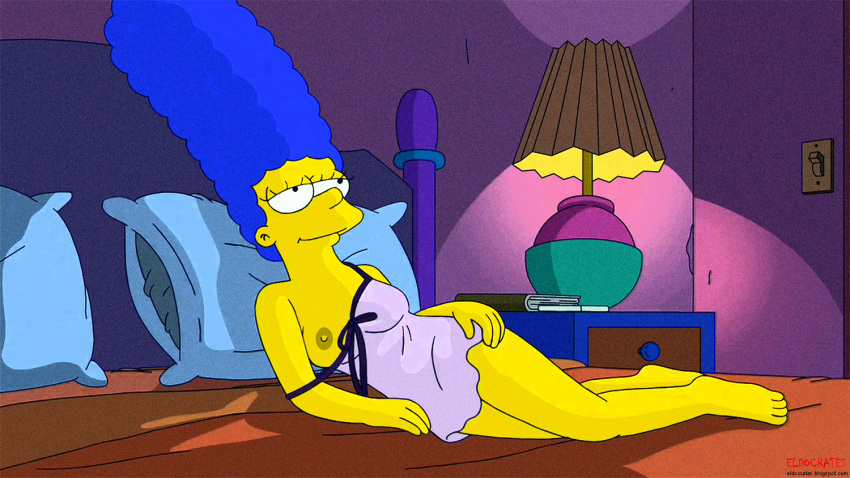 marge_simpson nightgown nipples one_breast_out smile the_simpsons thighs