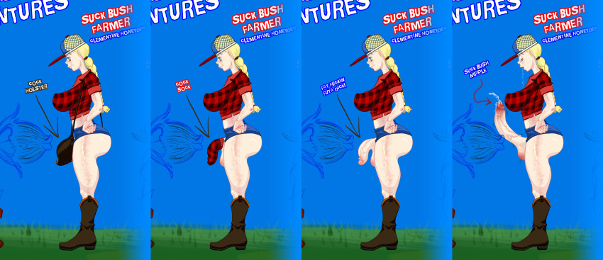 badonkadonk big_ass big_balls big_breasts big_penis blonde_hair blue_eyes cock_holster cock_sock cowboy_boots daisy_dukes dongidew dongidew_(artist) erection farmer flaccid freckles futanari plaid suck_bush suspenders tazmanian_suckbush trucker_hat whooty