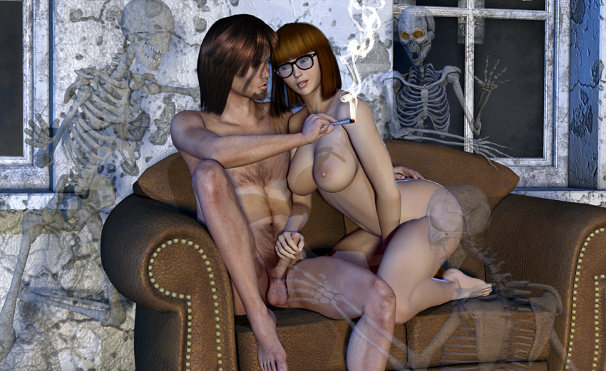 3d big_breasts erect_nipples erection glasses handjob nude scooby-doo shaggy thighs velma_dinkley