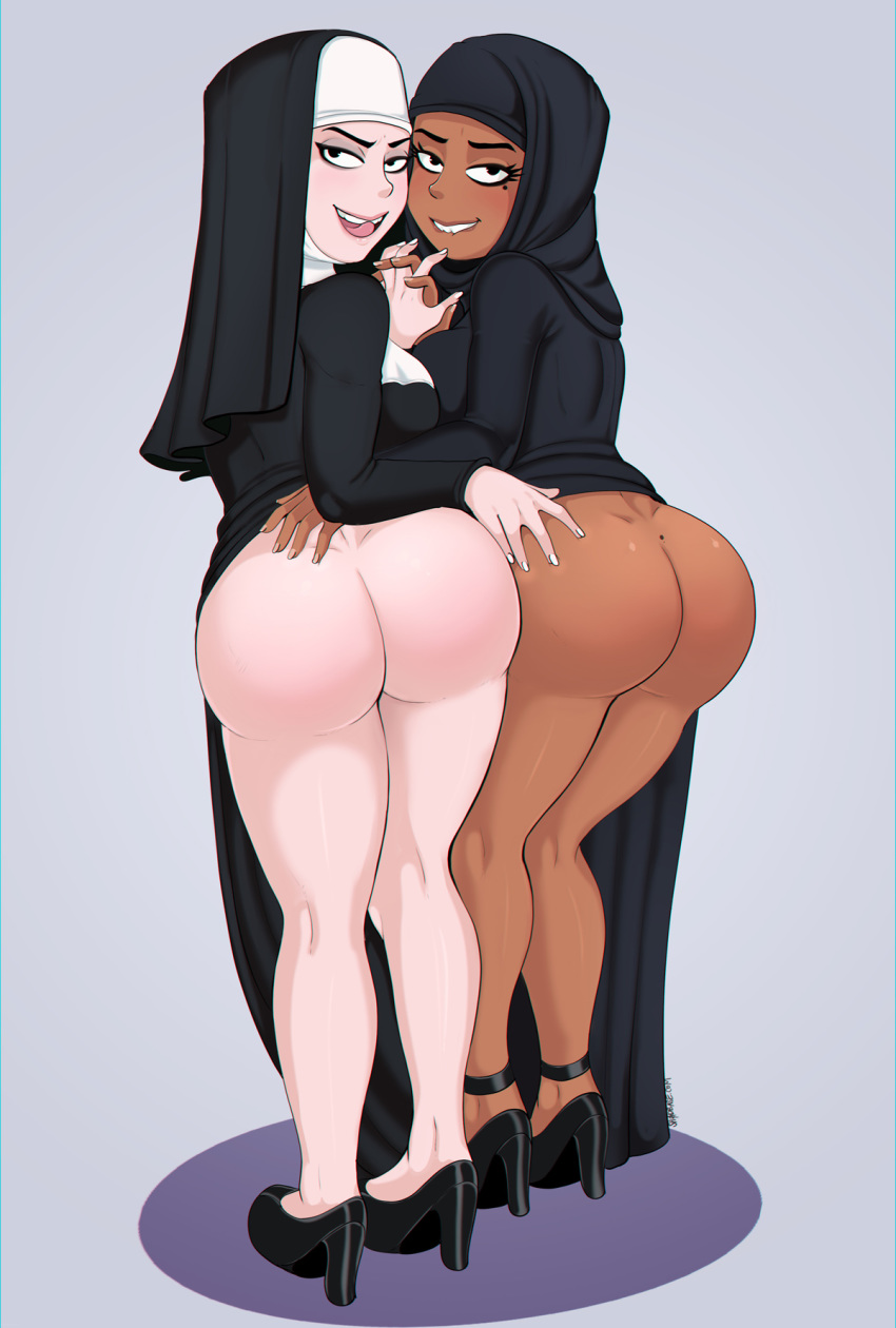 arabian ass beige_skin big_ass big_breasts black_eyes breasts brown_skin caucasian christian christianity dat_ass female habit hijab islam looking_at_viewer looking_back muslim nun shadman skin_tight tease therealshadman therealshadman_(artist) tsundere yuri