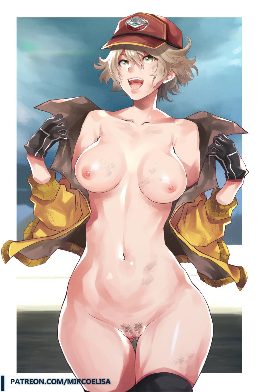 big_breasts blonde_hair breasts cidney final_fantasy final_fantasy_xv green_eyes jacket nude open_mouth patreon patreon_logo patreon_reward pussy_hair vaginal