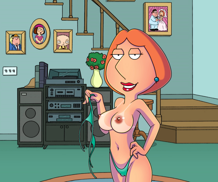 badbrains big_breasts erect_nipples family_guy lois_griffin panties tan_line topless