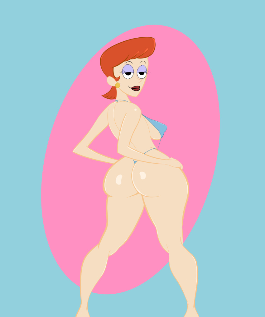 big_ass bikini dexter's_laboratory dexter's_mom earrings eyeshadow lipstick looking_back milf red_hair swimsuit