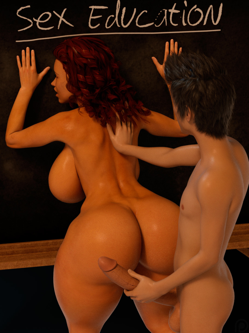 bend_over bent_over big_ass big_breasts big_penis big_penis big_penis class classroom huge_penis milf red_hair redhead teacher teacher_and_student the_foxxx