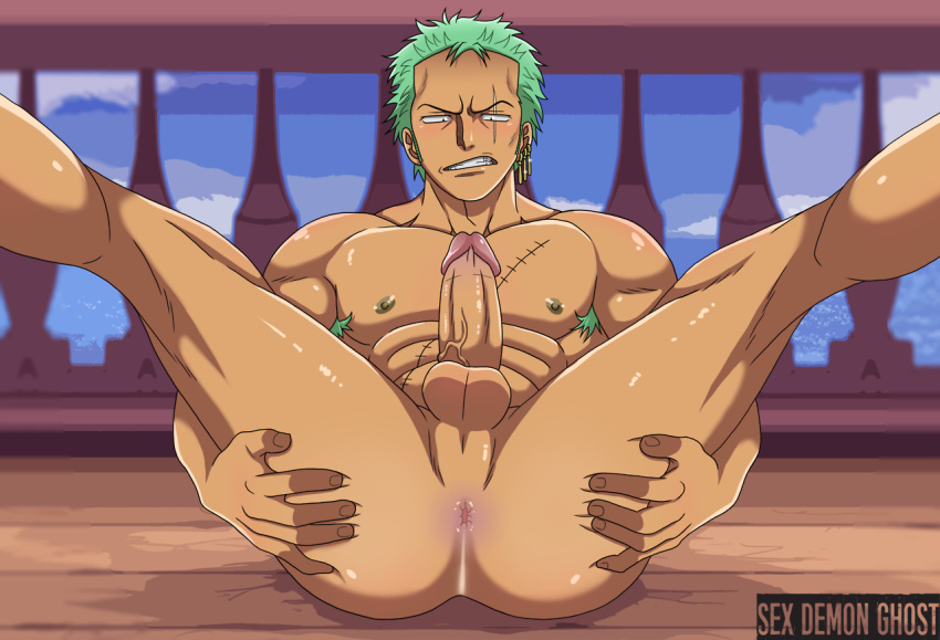 anus ass butt male naked nude one_piece roronoa_zoro spread_ass spread_legs spreading yaoi