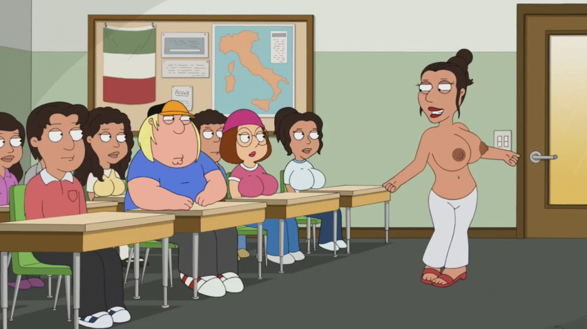 breast_shake chris_griffin dancing family_guy gif huge_breasts meg_griffin nipples