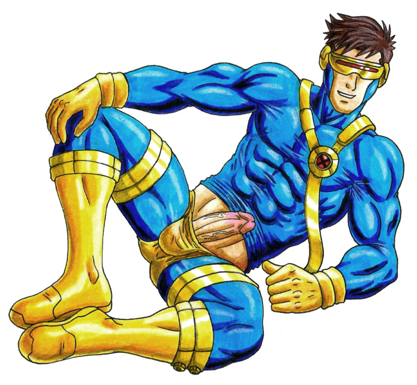 cyclops_(character) half-dressed half_naked half_nude male marvel marvel_comics presenting_penis scott_summers showing_penis x-men yaoi